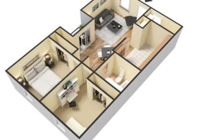 2 Bedroom / 1 Bath 796 SQFT