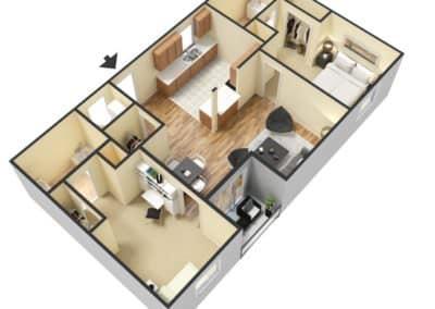 2 Bedroom / 2 Bath 896 SQFT