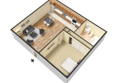 1 Bedroom / 1 Bath 600 SQFT